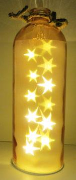 Glas-Flasche orange mit 12 LED Sternenlicht und 6 Std. Timer (6 ein / 18 aus)