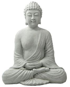 Buddha sitzend steinfarbig
