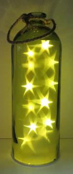 Glas-Flasche grün mit 12 LED Sternenlicht und 6 Std. Timer (6 ein / 18 aus)