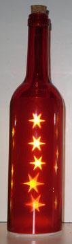 Glas-Flasche rot mit 5 LED Sternenlicht
