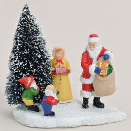 Miniatur Nikolaus mit Frau und Wichtel