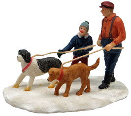 Miniatur Spaziergang mit Hund