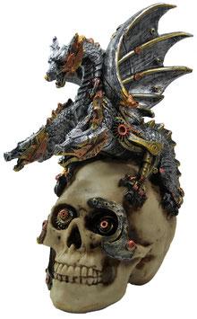 Steampunk-Schädel mit 3-Kopf Drachen