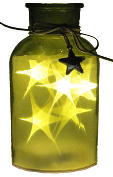 Glas-Flasche grün mit 6 LED Sternenlicht