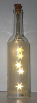 Glas-Flasche klar mit 5 LED Sternenlicht