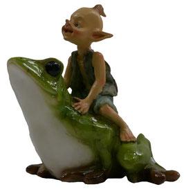 Pixie-Junge reitet auf Frosch