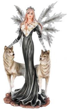 Elfe stehend mit zwei Wölfe