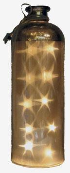 Glas-Flasche silber mit 10 LED Sternenlicht und 6 Std. Timer (6 ein / 18 aus)