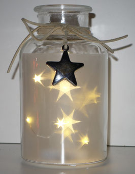 Glas-Flasche klar mit 6 LED Sternenlicht