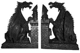 Drachen Buchstützen-Set schwarz