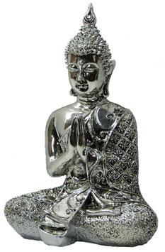 Buddha sitzend silberfarbig