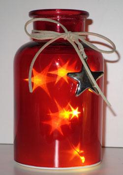 Glas-Flasche rot mit 6 LED Sternenlicht