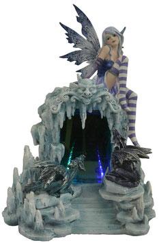 Elfe blau mit Drachen und LED