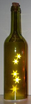 Glas-Flasche grün mit 5 LED Sternenlicht