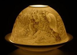 Porzellan - Windlicht Engel mit Tiere