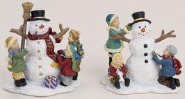Miniatur Kinder mit Schneemann 2ass.