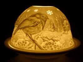 Porzellan - Windlicht Vogel