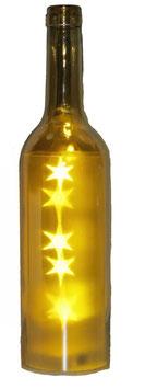 Glas-Flasche gold mit 5 LED Sternenlicht