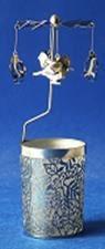 Windlicht-Karussell Metall-silberfarbig Vogel