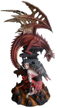 Elfe mit Drachen rot