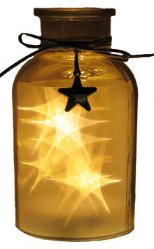 Glas-Flasche gold mit 10 LED Sternenlicht