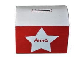 "Spardose ""Sterne Rot_Weiß"""