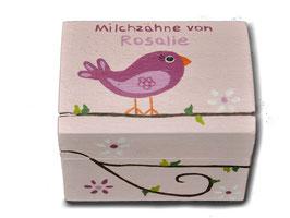 """Milchzahndose """"Vogel Altrosa"""""""