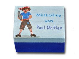 """Milchzahndose """"Pirat Hellblau/Dunkelblau"""""""