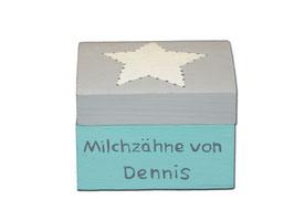 """Milchzahndose """"Stern Türkis/Hellgrau"""""""
