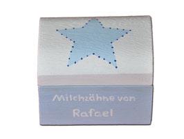 """Milchzahndose """"Stern Hellblau/Weiß"""""""