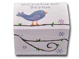 "Milchzahndose ""Vogel Lila"""