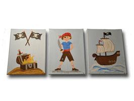 """Kinderzimmerbilder 3er Set """"Pirat"""""""