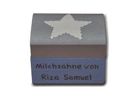 """Milchzahndose """"Stern Hellblau/Grau"""""""