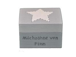 """Milchzahndose """"Stern Hellgrau/Mittelgrau"""""""