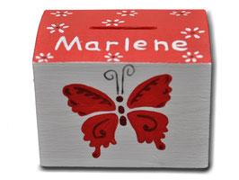"Spardose ""Schmetterlinge Rot"""