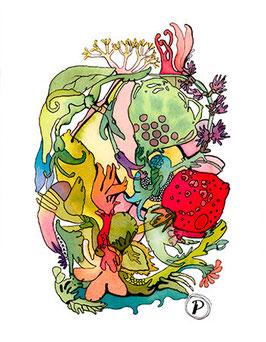 """Serie """"Sommersymphonie"""", Bildmotiv: """"Erdbeeren-Sommerlied"""", hochwertiger Kunstdruck"""