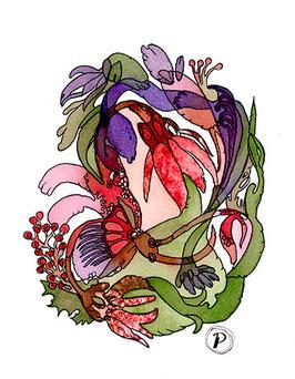 """Serie """"Sommersymphonie"""", Bildmotiv: """"violett rotes Chanson"""", hochwertiger Kunstdruck"""