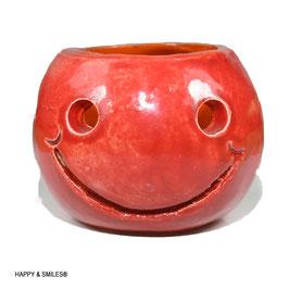 Mr.SMILES Kerzenkugel klein aussen rot -innen orange ca. 9cm Durchmesser