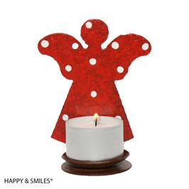 Kerzenhalter, Engel, rot mit weissen Punkten
