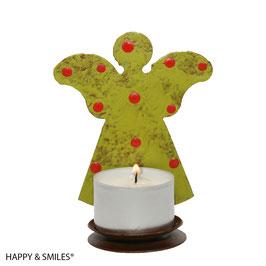 Kerzenhalter, Engel, grün mit roten Punkten