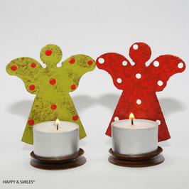 Kerzenhalter, Engel als Paar, 1 roter & 1 grüner Engel