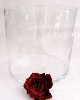 Runde Vase gerade Form mundgeblasen klar Glas Vase Blumenvase Kristallglas Höhe 20 cm Breite 20,5 cm  mundgeblasen