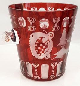 Egermann Eiskühler Vase rot Durchmesser ca. 12 cm Höhe ca. 12,5 cm geschliffen