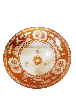 Egermann Schale mit drei Füsschen mundgeblasen und handgeschiffen Durchmesser ca. 22 cm Höhe ca. 9 cm bernsteinfarben antik und selten