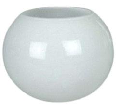 Kugelvase, runde Vase weiß mundgeblasen, Durchmesser ca. 30 cm, Öffnung oben ca.17 cm, Höhe ca 25 cm. Beim benutzen eines Teelichts einen Teller in die Vase stellen!