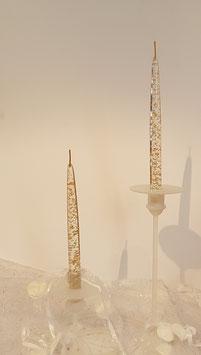 Kerzenständer aus Glas satiniert mundgeblasen für zwei Spitzkerzen Höhe ca 220 mm Breite ca.26 cm