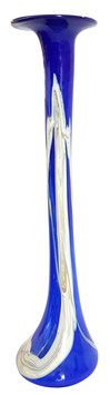 Glasvase schmal modernes Unikat für Einzelblumen mundgeblasen mit augetragenem Dekor, Grundfarbe kobalt blau, Höhe ca. 36 cm