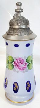 Glaskrug mit Zinndeckel Überfangemail weiss + Farbe Höhe ca. 26 cm hangeschliffen und handbemalt