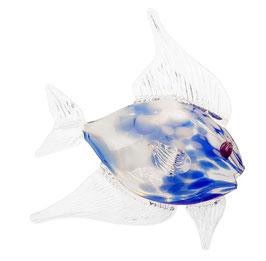 Dekorativer Fisch, Scalar blau und klares Kristallglas, mundgeblasen, Länge ca.22 cm, Höhe ca 22 cm, jedes Stück ist ein Glas unikat