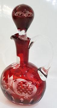 original Egermann Karaffe Flasche mit Henkel mit eingeschliffenem Stöpsel Höhe 24,5 cm rubyrot handgeschliffen